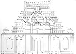 hindu temple drawing sketch coloring page