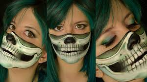 makeup tutorial diy halloween easy skull half skull green