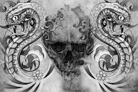 skull and snakes design stock illustration illustration