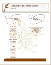 thanksgiving meal planner template ms word word document templates