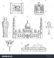 egypt travel sketched icons cairo mosque stock vector 351483494