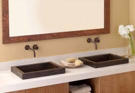 Hammered Copper Bathroom Sink Astonishing Small Bathroom Sink Top Mount Using Semi Recessed
