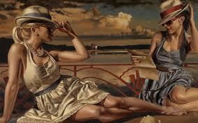 painting two beautiful ladies at seaside
