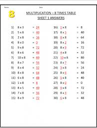 8 times table worksheet chart printable