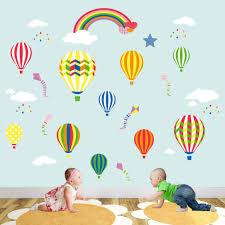 nursery wall art enchanted interiors rainbow hot air balloons nursery wall decals