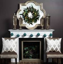 Mantel Decorating Tips Mantel Decorated With Wreath Mirror And Hanging Blue Accessories