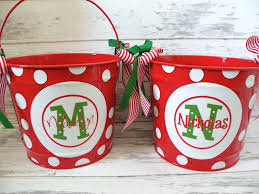 custom christmas bucket in reds and green personalized buckets