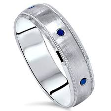 10k white gold wedding band mens blue diamond brushed wedding band 6mm ring 10k white gold