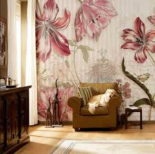 wohnzimmer tapeten landhausstil schön tapeten fürs wohnzimmer mit blumen motiv