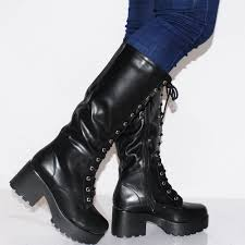womens knee length boots uk womens black knee high chunky cleated platforms block high heels boots