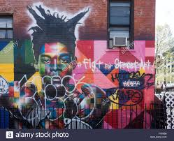 Corner Wall Art by Street Art On A Corner Wall In Williamsburg Brooklyn Stock Photo