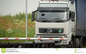 volvo big truck big truck brands volvo drives to trestle at checkpoint stock video