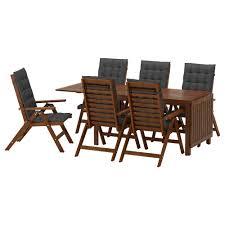 6 Seat Patio Table And Chairs äpplarö Table 6 Reclining Chairs Outdoor äpplarö Brown