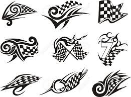 Checkered Flag Ribbon Set Of Racing Tattoos With Checkered Flags Black And White Vector