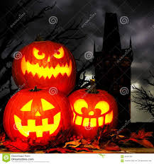 halloween jack o lantern scene with spooky trees and tower stock