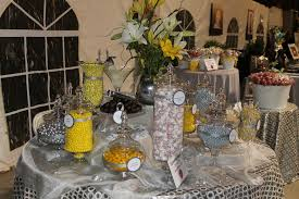 Buffet Table Decor by Candy Table Ideas Silver Yellow And White Candy Buffet Charity