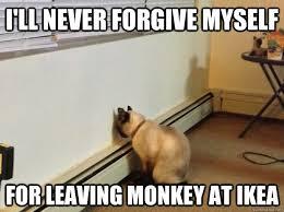 Ikea Monkey Meme - i ll never forgive myself for leaving monkey at ikea regretful