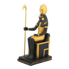 hawk headed egyptian god horus seated on throne statue 7 inches