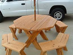 octagon picnic table plans with umbrella hole octagon picnic table built around a tree google search cabin
