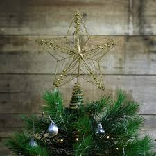 large 30cm glitter wire christmas tree topper decoration u2013 gold or