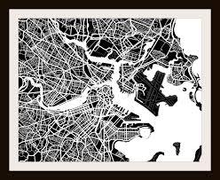amazon com boston ma city print by map wall art 11 x 14 black