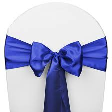 blue chair sashes royal blue satin wedding chair sash 5 pk smarty had a party