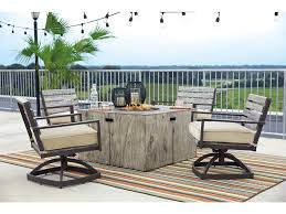 Garden Table And Chairs With Fire Pit Peachstone 5 Piece Outdoor Fire Pit Set 4 Swivel Chairs Fire Pit