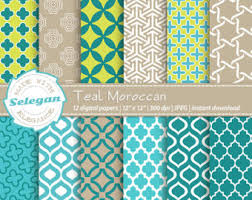 moroccan wrapping paper moroccan tiles arabic patterns instant set of