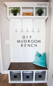 diy mudroom bench entryway wire baskets and the hook diy mudroom bench