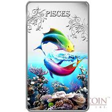 cook islands pisces 1 zodiac signs series colored silver