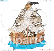 royalty free rf clipart illustration of a mysterious pirate ship