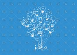blue free light bulbs idea light bulbs on blue background in sketch style royalty free