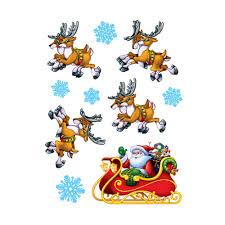 santa sleigh and reindeer sleigh and reindeer window clings
