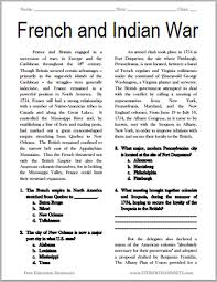 french and indian war reading with questions student handouts