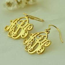 name earrings gold personalized vine monogram earrings gold color name earrings cut
