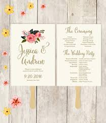 gold wedding programs wedding program fan printable wedding fan watercolor