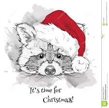 the christmas poster with the image raccoon portrait in santa u0027s
