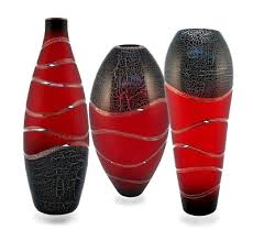 Vase Uk Ornaments Svaja Crackle Red Vase