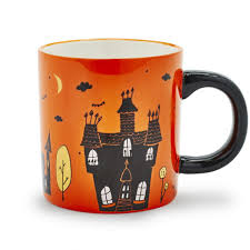 dining room halloween spooky pumpkin java mug poppy with black