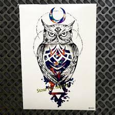 1pc snowy owl hedwig design large arm tattoo sleeve flash