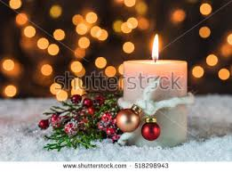 Advent Decorations Advent Season Candlelight Christmas Decorations Golden Stock Photo