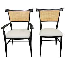 set of 6 black lacquer and cane paul mccobb dining chairs paul
