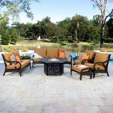 Fire Pit Set Patio Furniture - avondale 7 piece aluminum patio fire pit seating set by lakeview