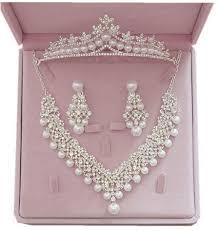 bridal necklace earring images Elegant bridal jewelry pearal necklace earring crown jewelry jpg