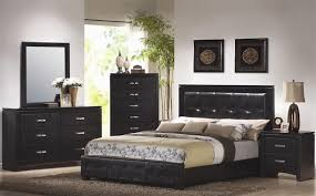 coaster bedroom set 6 piece bedroom set in black finish with black vinyl upholstery by