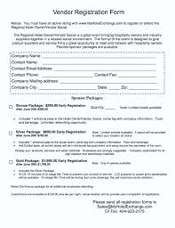free vendor registration form template template update234 com