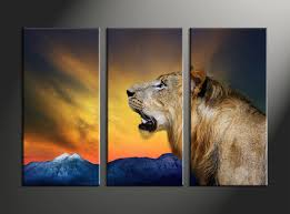3 piece wildlife lion yellow wall decor