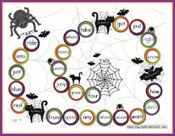 free halloween themed sight word game board great for literacy