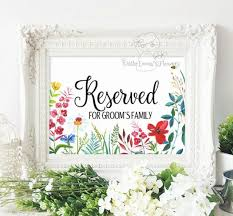 wild flower printable reserved for bride and groom u0027s family