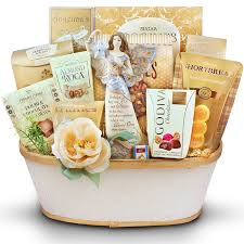 sympathy basket top in the sky angel figurine sympathy gift basket gourmet